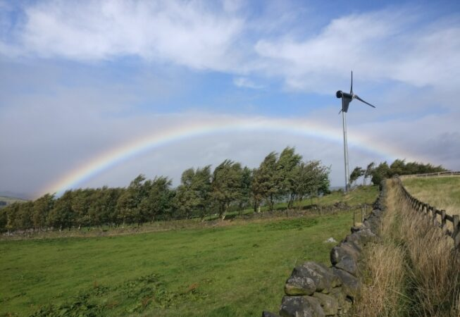 Windmill on Norr Hill with rainbow in the background