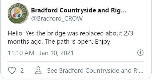 Bradford CROW Twitter Update Message